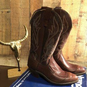 Vintage retro cowboy boots NIB brown size 8 NOS